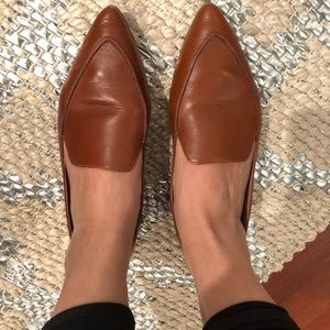 Madewell size 8 brown leather pointy toe flats!